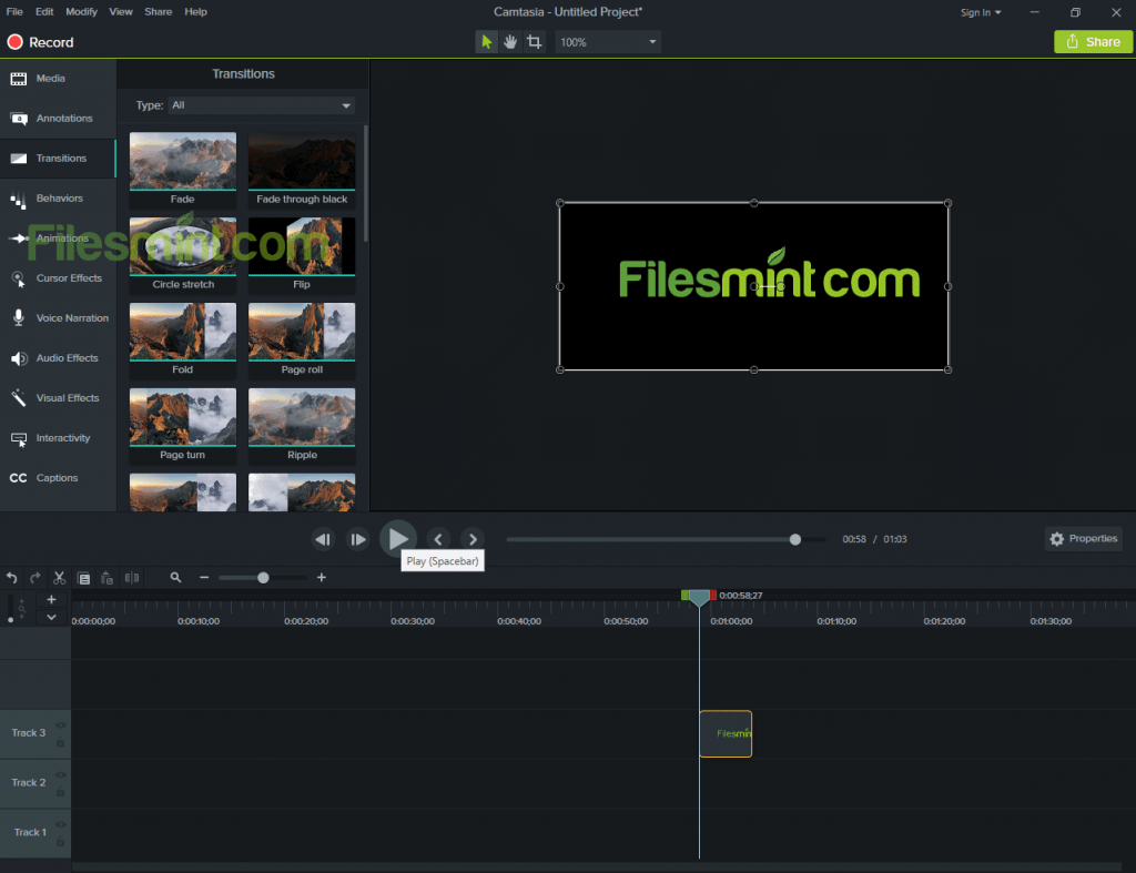 Screenshot of Camtasia