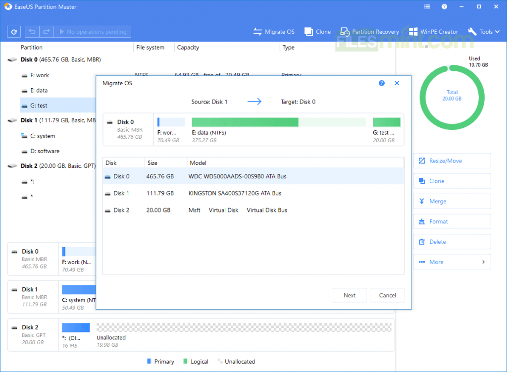 EASEUS Partition Master Screenshot