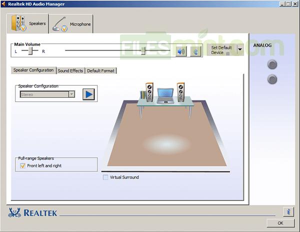 Realtek HD Audio Manager Screenshot