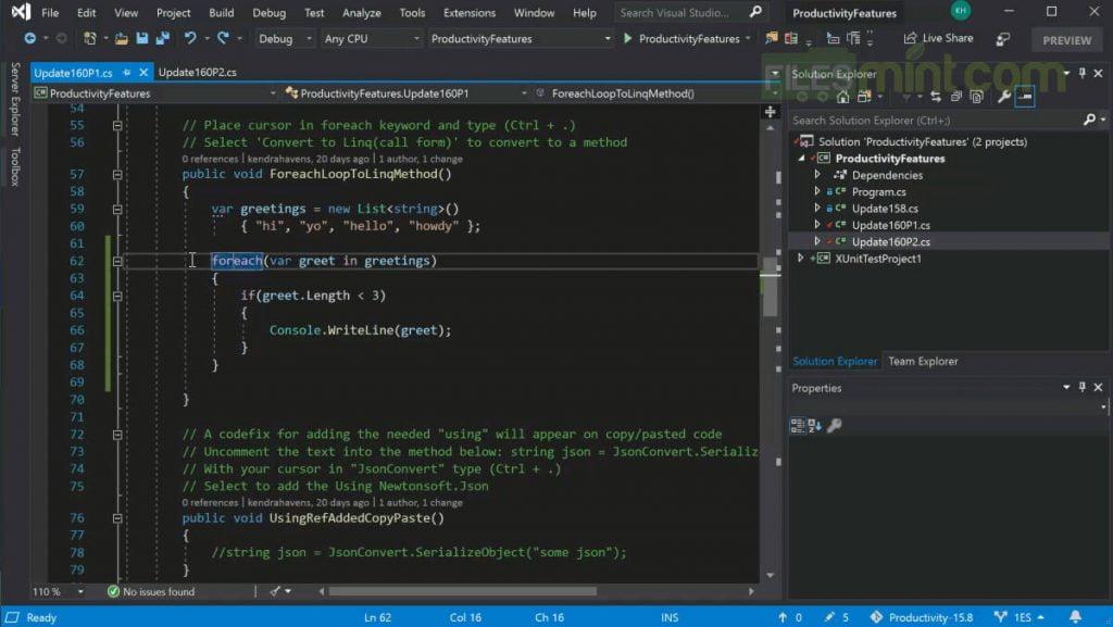 Visual Studio IDE Screenshot