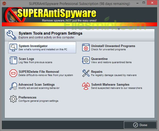 SuperAntiSpyware Screenshot