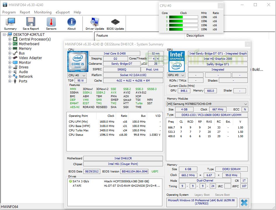 HWiNFO Screenshot