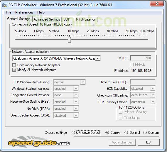 TCP Optimizer Screenshot