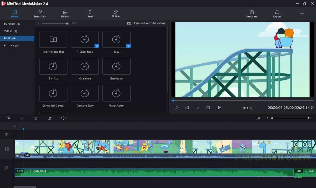 MiniTool MovieMaker Screenshot