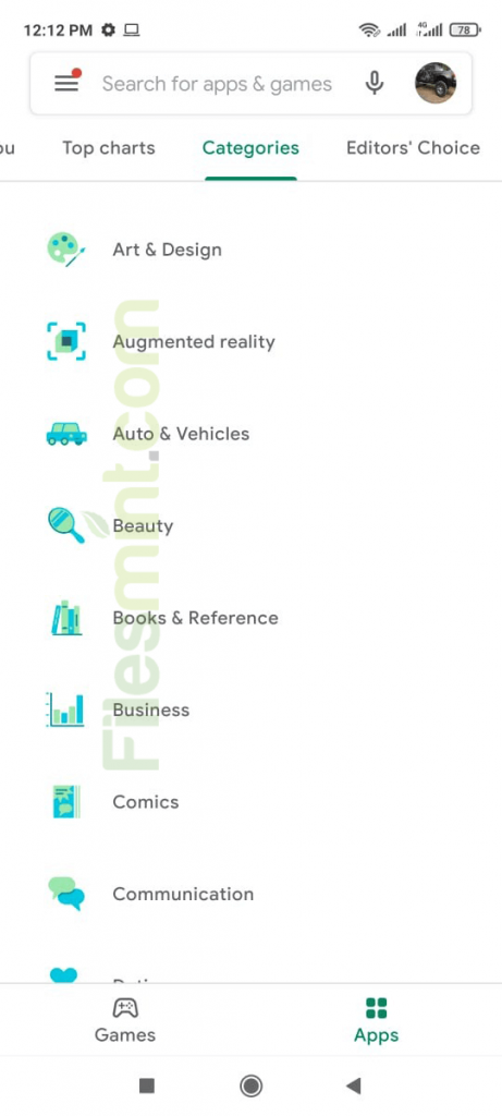 Play Store Categories
