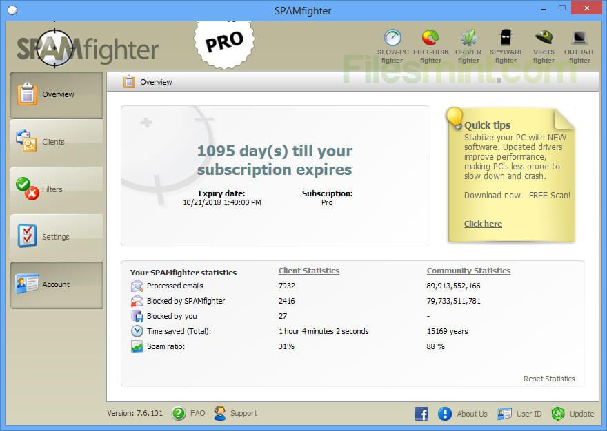 SPAMfighter Screenshot
